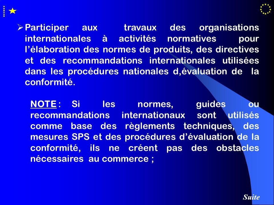 Participer aux travaux des organisations internationales à activités normatives pour lélaboration des normes de produits, des directives et des recomm