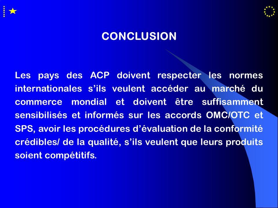 CONCLUSION Les pays des ACP doivent respecter les normes internationales sils veulent accéder au marché du commerce mondial et doivent être suffisamme