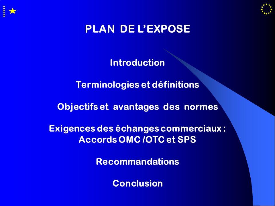 PLAN DE LEXPOSE Introduction Terminologies et définitions Objectifs et avantages des normes Exigences des échanges commerciaux : Accords OMC /OTC et S