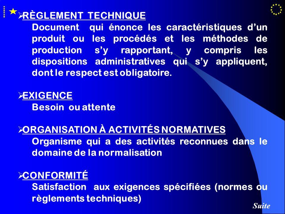 RÈGLEMENT TECHNIQUE Document qui énonce les caractéristiques dun produit ou les procédés et les méthodes de production sy rapportant, y compris les di