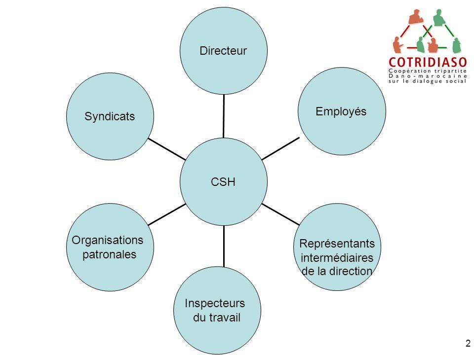 2 Syndicats Organisations patronales Inspecteurs du travail Représentants intermédiaires de la direction Employés Directeur CSH