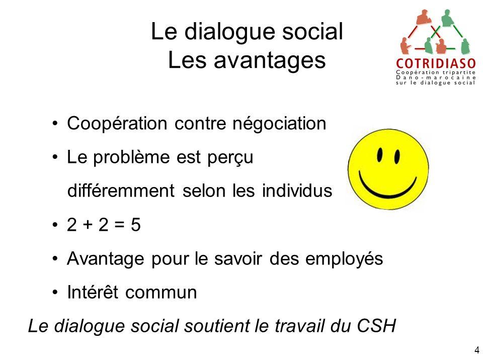 4 Le dialogue social Les avantages Coopération contre négociation Le problème est perçu différemment selon les individus 2 + 2 = 5 Avantage pour le sa