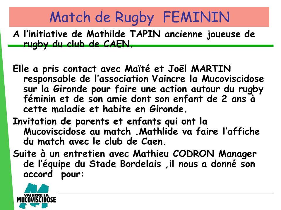 A linitiative de Mathilde TAPIN ancienne joueuse de rugby du club de CAEN. Elle a pris contact avec Maïté et Joël MARTIN responsable de lassociation V