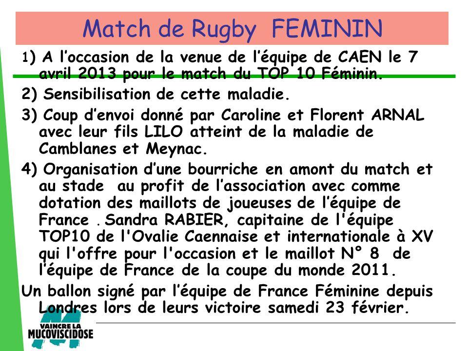 1 ) A loccasion de la venue de léquipe de CAEN le 7 avril 2013 pour le match du TOP 10 Féminin. 2) Sensibilisation de cette maladie. 3) Coup denvoi do