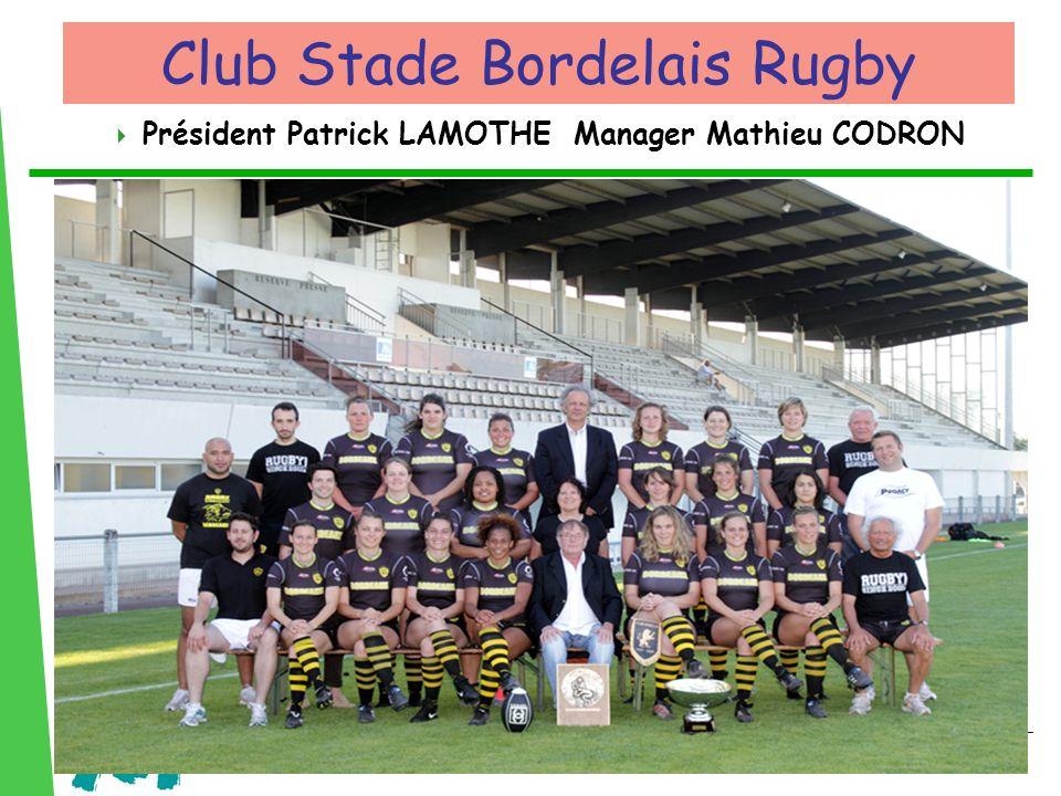 Président Patrick LAMOTHE Manager Mathieu CODRON Club Stade Bordelais Rugby