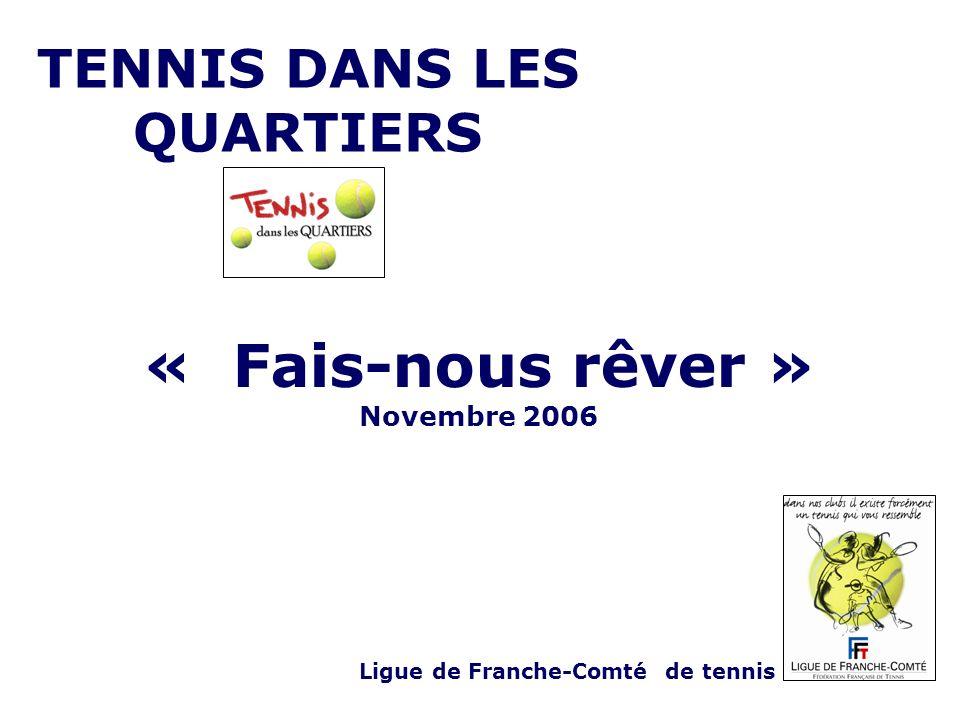 TENNIS DANS LES QUARTIERS Ligue de Franche-Comté de tennis « Fais-nous rêver » Novembre 2006