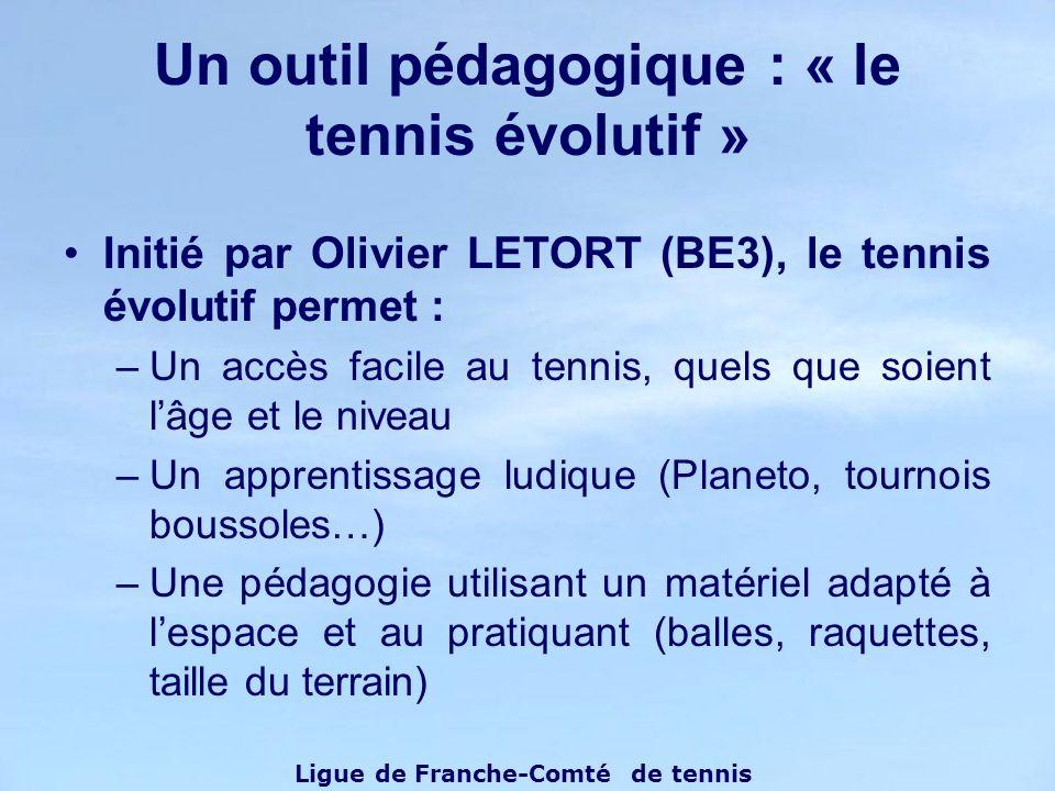Initié par Olivier LETORT (BE3), le tennis évolutif permet : –Un accès facile au tennis, quels que soient lâge et le niveau –Un apprentissage ludique
