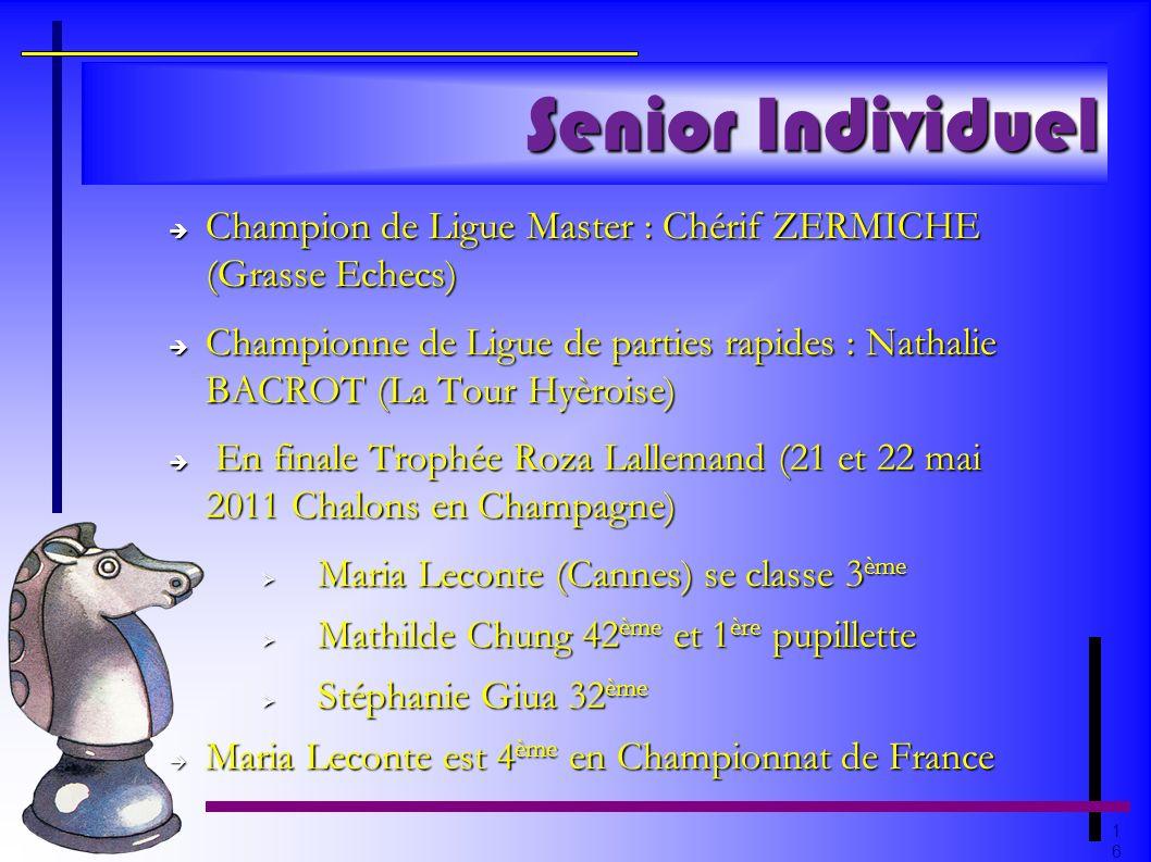 1616 Senior Individuel Champion de Ligue Master : Chérif ZERMICHE (Grasse Echecs) Champion de Ligue Master : Chérif ZERMICHE (Grasse Echecs) Championn