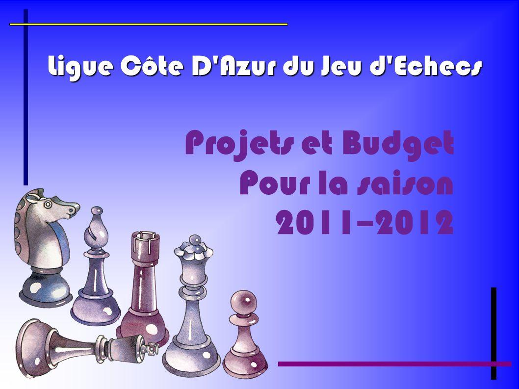 Ligue Côte D'Azur du Jeu d'Echecs Projets et Budget Pour la saison 2011–2012
