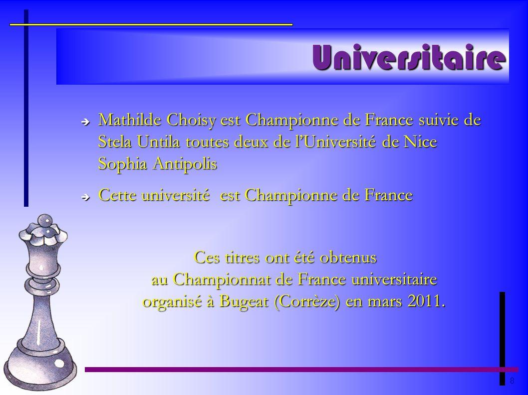 8 Universitaire Mathilde Choisy est Championne de France suivie de Stela Untila toutes deux de lUniversité de Nice Sophia Antipolis Mathilde Choisy es