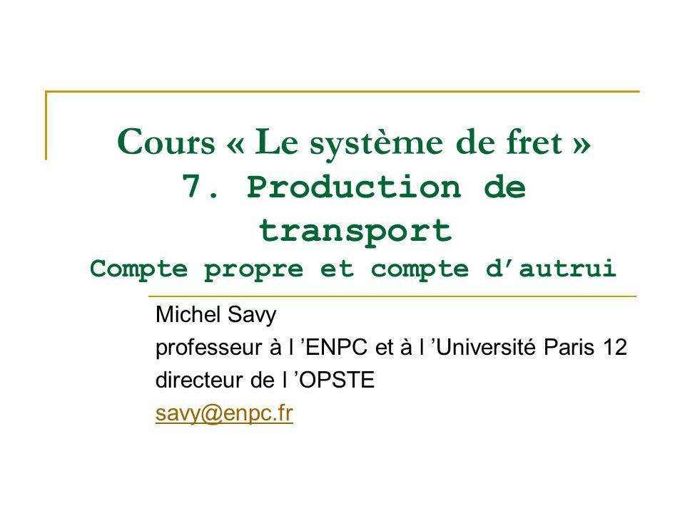 Cours « Le système de fret » 7. Production de transport Compte propre et compte dautrui Michel Savy professeur à l ENPC et à l Université Paris 12 dir