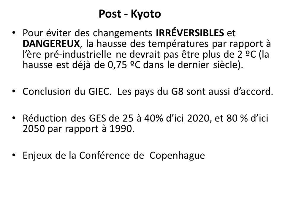 Post - Kyoto Pour éviter des changements IRRÉVERSIBLES et DANGEREUX, la hausse des températures par rapport à lère pré-industrielle ne devrait pas êtr