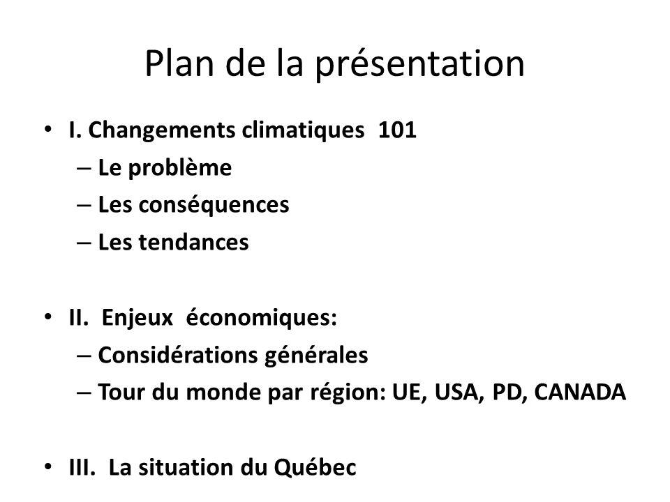 Plan de la présentation I. Changements climatiques 101 – Le problème – Les conséquences – Les tendances II. Enjeux économiques: – Considérations génér