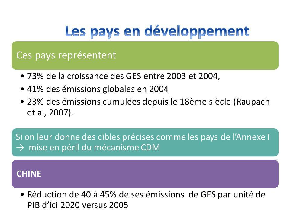 Ces pays représentent 73% de la croissance des GES entre 2003 et 2004, 41% des émissions globales en 2004 23% des émissions cumulées depuis le 18ème s