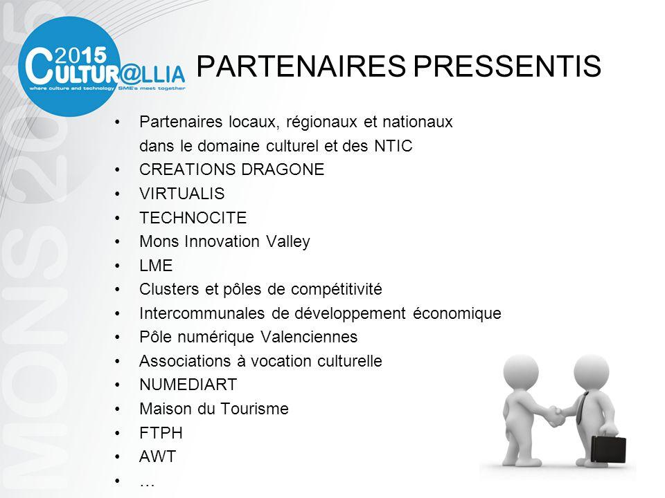 PARTENAIRES PRESSENTIS Partenaires locaux, régionaux et nationaux dans le domaine culturel et des NTIC CREATIONS DRAGONE VIRTUALIS TECHNOCITE Mons Inn
