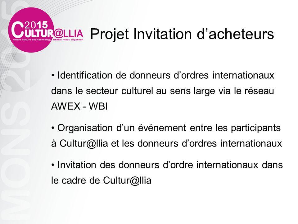 Identification de donneurs dordres internationaux dans le secteur culturel au sens large via le réseau AWEX - WBI Organisation dun événement entre les