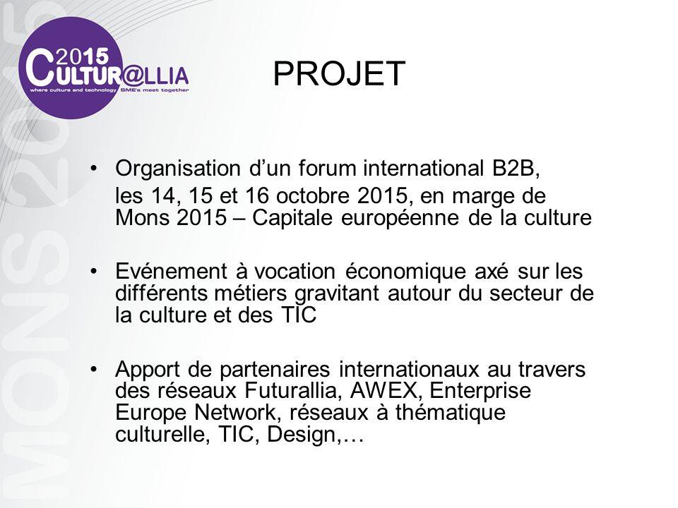 PROJET Organisation dun forum international B2B, les 14, 15 et 16 octobre 2015, en marge de Mons 2015 – Capitale européenne de la culture Evénement à