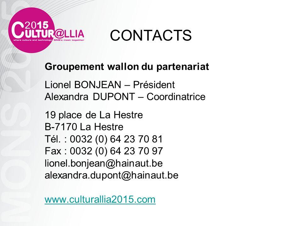 CONTACTS Groupement wallon du partenariat Lionel BONJEAN – Président Alexandra DUPONT – Coordinatrice 19 place de La Hestre B-7170 La Hestre Tél. : 00