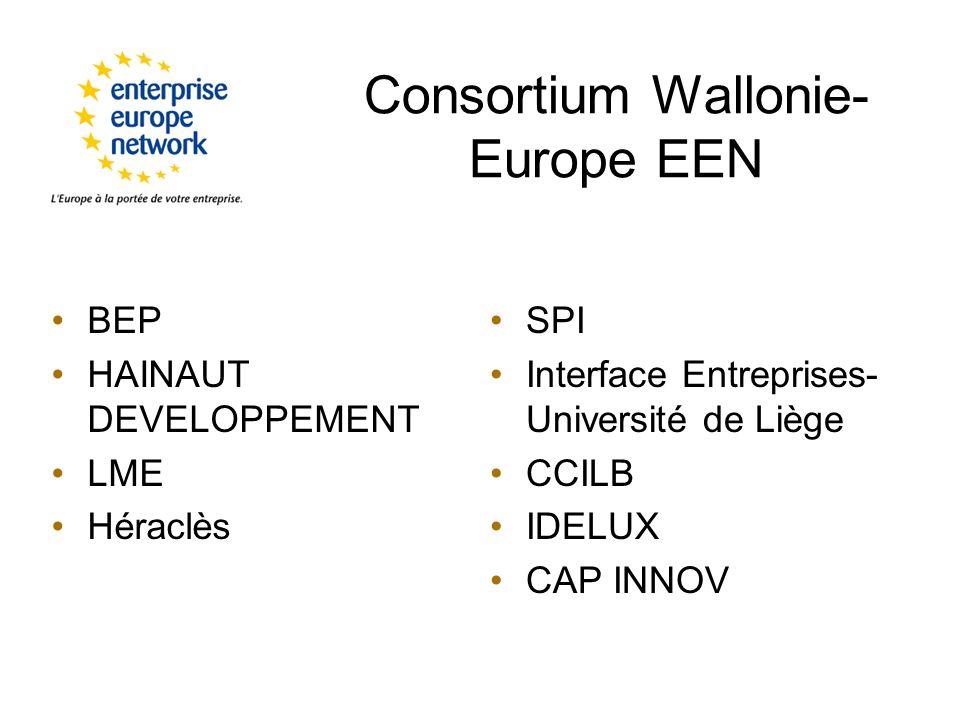 Consortium Wallonie- Europe EEN BEP HAINAUT DEVELOPPEMENT LME Héraclès SPI Interface Entreprises- Université de Liège CCILB IDELUX CAP INNOV