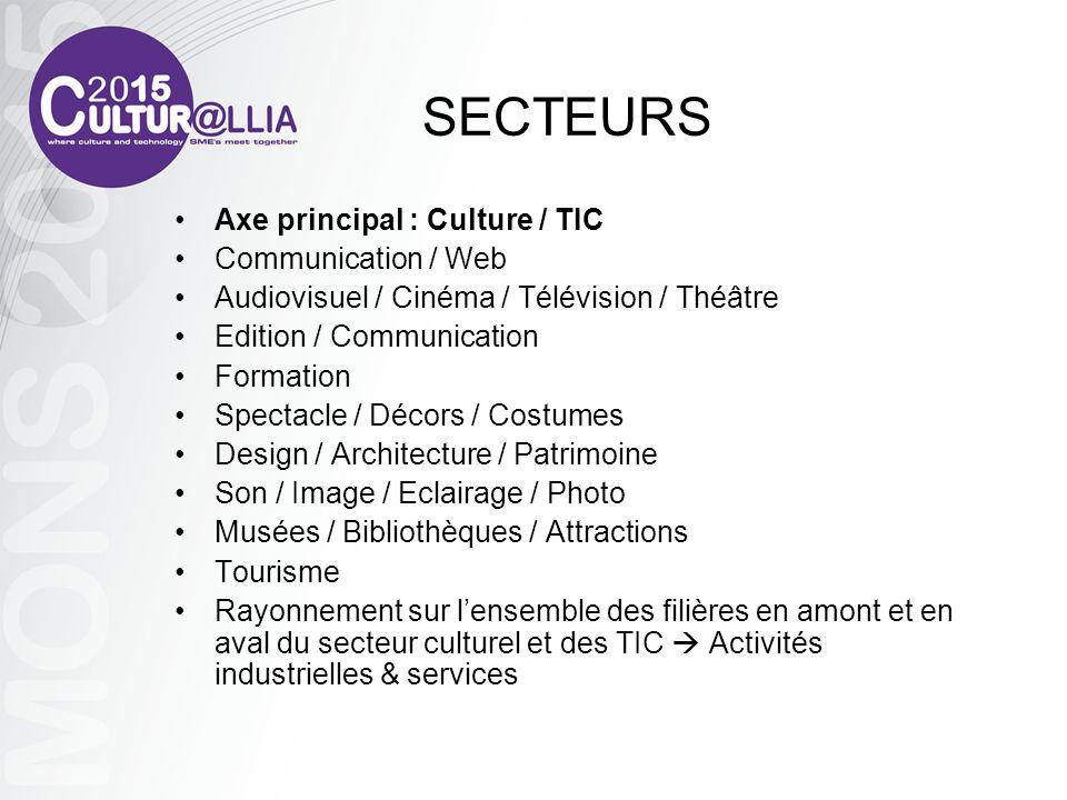 SECTEURS Axe principal : Culture / TIC Communication / Web Audiovisuel / Cinéma / Télévision / Théâtre Edition / Communication Formation Spectacle / D