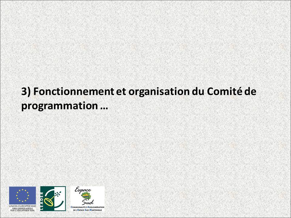 3) Fonctionnement et organisation du Comité de programmation …