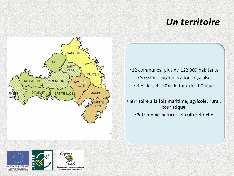 Un territoire 12 communes, plus de 122 000 habitants Pressions agglomération foyalaise 90% de TPE, 30% de taux de chômage Territoire à la fois maritime, agricole, rural, touristique Patrimoine naturel et culturel riche