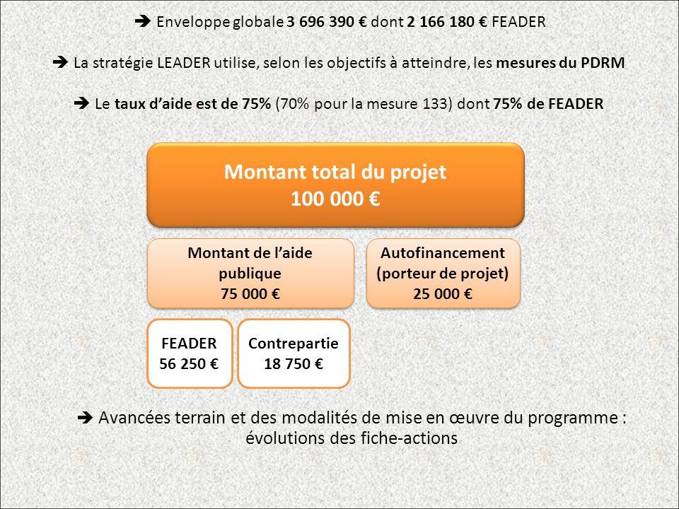 Enveloppe globale 3 696 390 dont 2 166 180 FEADER La stratégie LEADER utilise, selon les objectifs à atteindre, les mesures du PDRM Le taux daide est de 75% (70% pour la mesure 133) dont 75% de FEADER Montant total du projet 100 000 Montant total du projet 100 000 Montant de laide publique 75 000 Montant de laide publique 75 000 Autofinancement (porteur de projet) 25 000 FEADER 56 250 Contrepartie 18 750 Avancées terrain et des modalités de mise en œuvre du programme : évolutions des fiche-actions