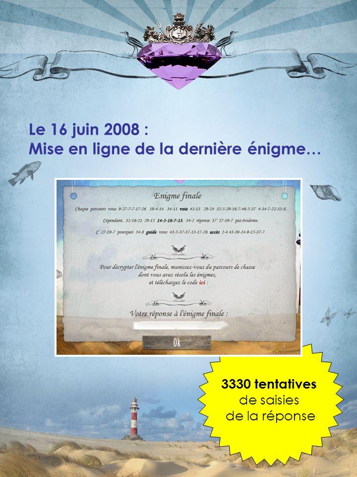Le 16 juin 2008 : Mise en ligne de la dernière énigme… 3330 tentatives de saisies de la réponse