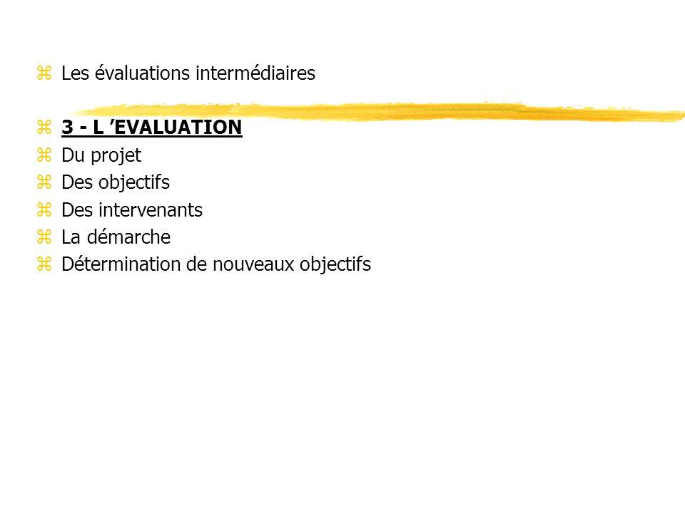 zLes évaluations intermédiaires z3 - L EVALUATION zDu projet zDes objectifs zDes intervenants zLa démarche zDétermination de nouveaux objectifs