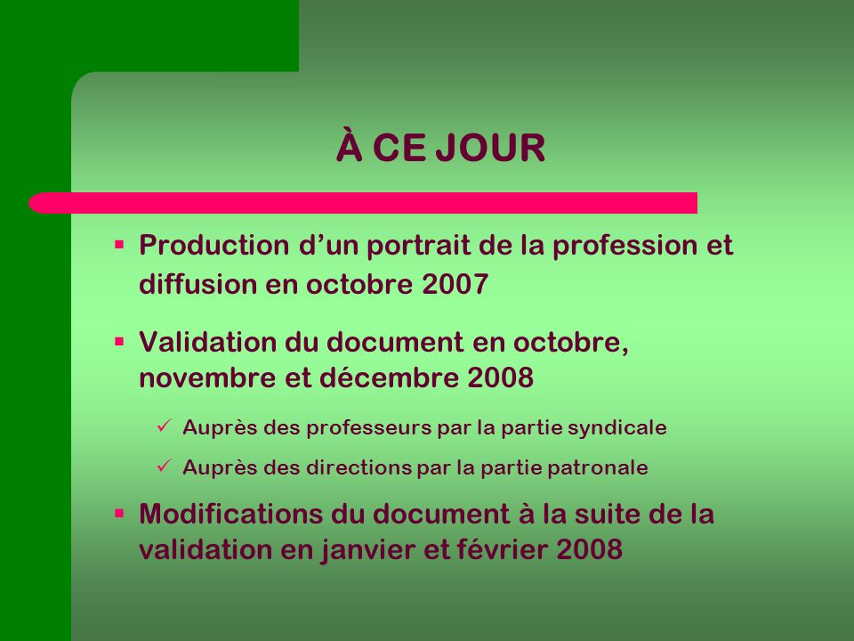 À CE JOUR Production dun portrait de la profession et diffusion en octobre 2007 Validation du document en octobre, novembre et décembre 2008 Auprès des professeurs par la partie syndicale Auprès des directions par la partie patronale Modifications du document à la suite de la validation en janvier et février 2008