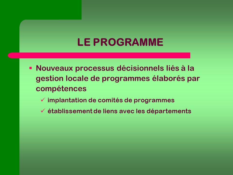 LE PROGRAMME Nouveaux processus décisionnels liés à la gestion locale de programmes élaborés par compétences implantation de comités de programmes établissement de liens avec les départements
