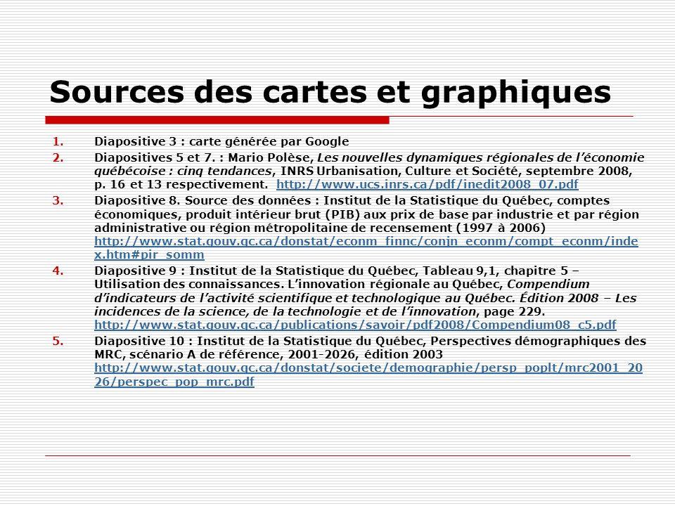 Sources des cartes et graphiques 1.Diapositive 3 : carte générée par Google 2.Diapositives 5 et 7.