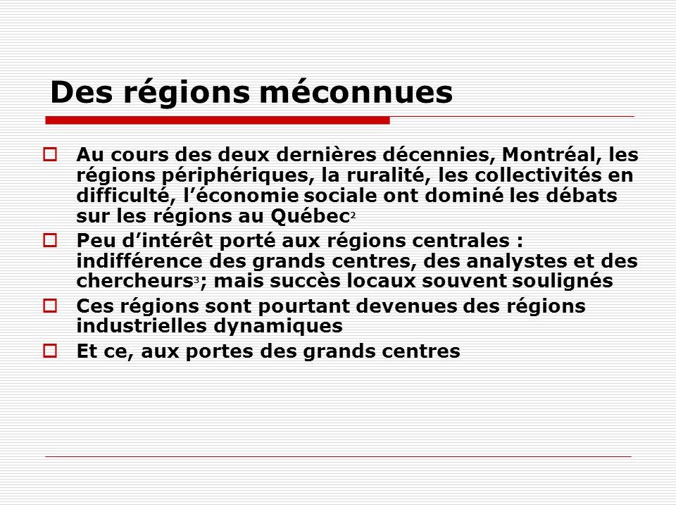 Des régions méconnues Au cours des deux dernières décennies, Montréal, les régions périphériques, la ruralité, les collectivités en difficulté, léconomie sociale ont dominé les débats sur les régions au Québec 2 Peu dintérêt porté aux régions centrales : indifférence des grands centres, des analystes et des chercheurs 3 ; mais succès locaux souvent soulignés Ces régions sont pourtant devenues des régions industrielles dynamiques Et ce, aux portes des grands centres