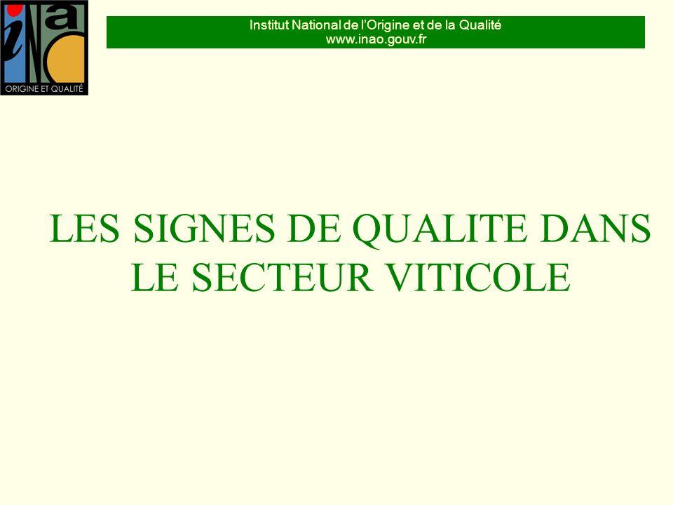 Institut National de lOrigine et de la Qualité www.inao.gouv.fr LES SIGNES DE QUALITE DANS LE SECTEUR VITICOLE