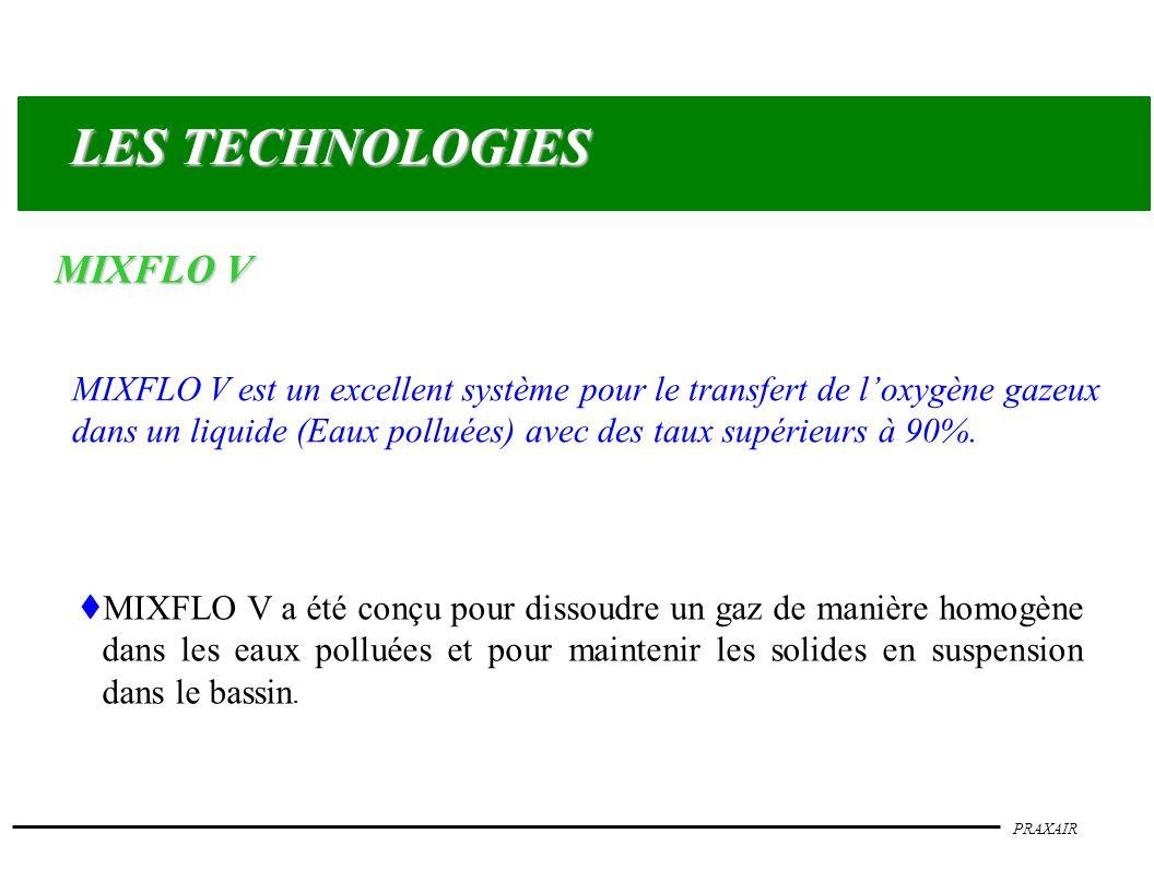 PRAXAIR MIXFLO V est un excellent système pour le transfert de loxygène gazeux dans un liquide (Eaux polluées) avec des taux supérieurs à 90%. t MIXFL