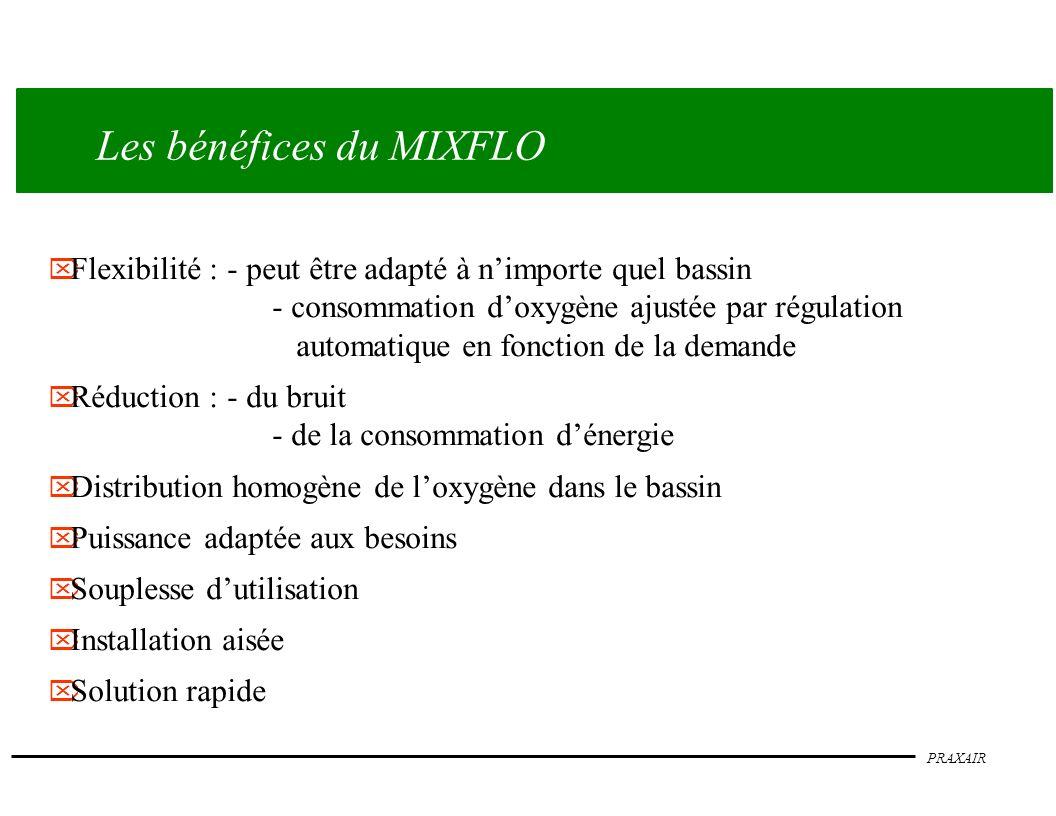 PRAXAIR Les bénéfices du MIXFLO Flexibilité :- peut être adapté à nimporte quel bassin - consommation doxygène ajustée par régulation automatique en f
