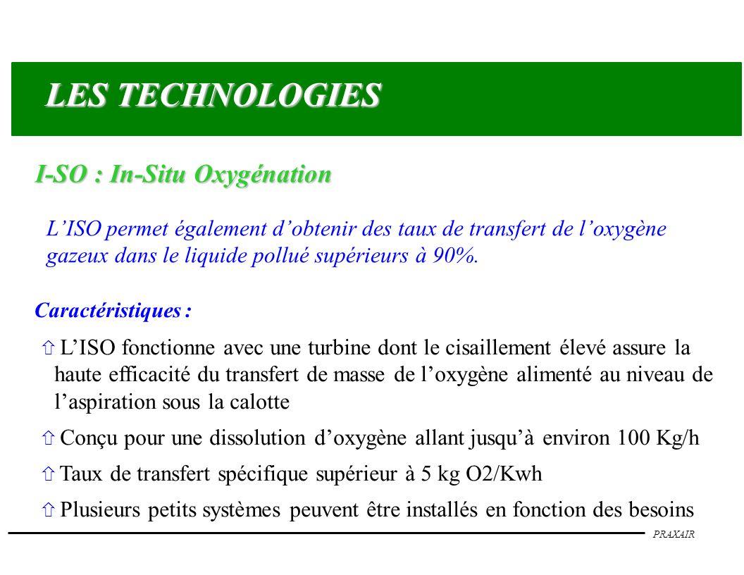 PRAXAIR LISO permet également dobtenir des taux de transfert de loxygène gazeux dans le liquide pollué supérieurs à 90%. ñ LISO fonctionne avec une tu