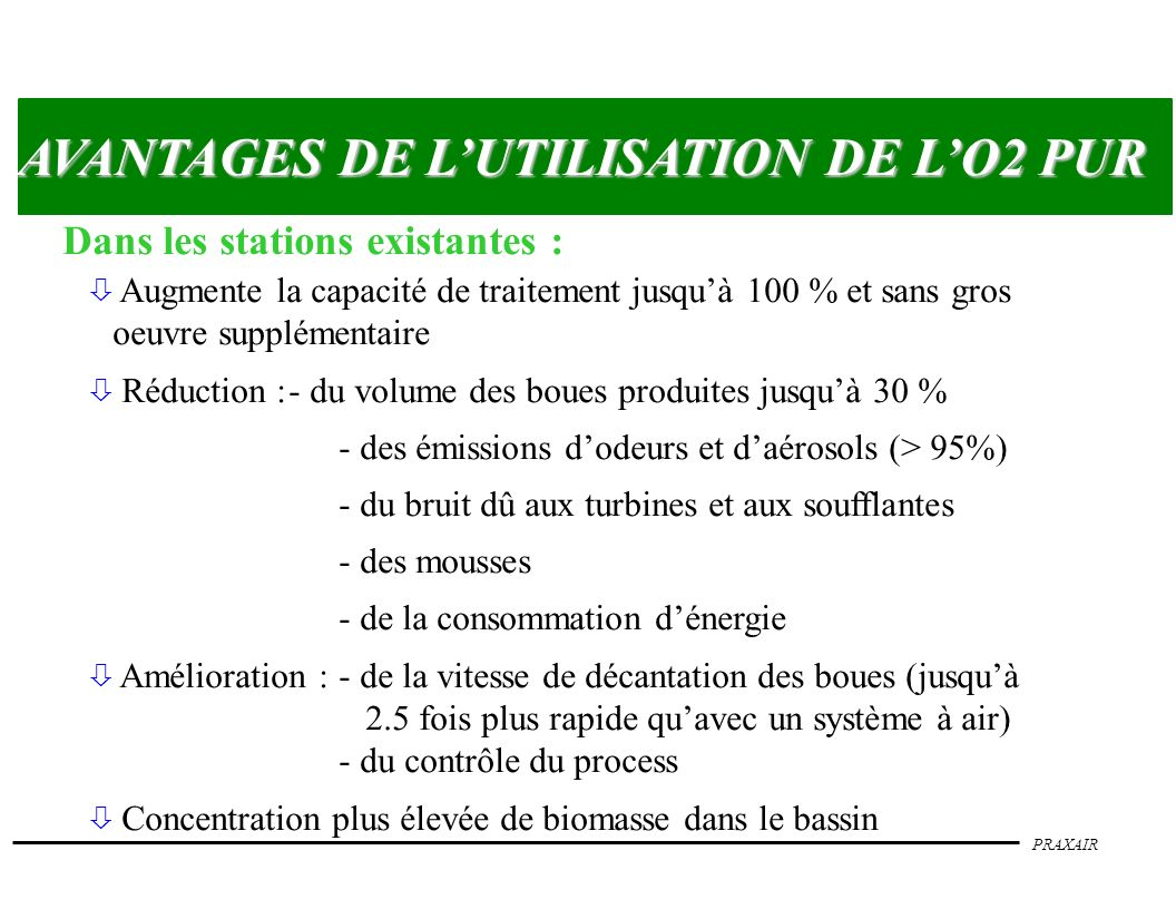 PRAXAIR AVANTAGES DE LUTILISATION DE LO2 PUR Dans les nouvelles stations : ò Réduction :- du volume du bassin doxydation et de la surface totale de la station - de linvestissement initial - de la consommation dénergie ò Démarrage de la station et contrôle du process plus aisés