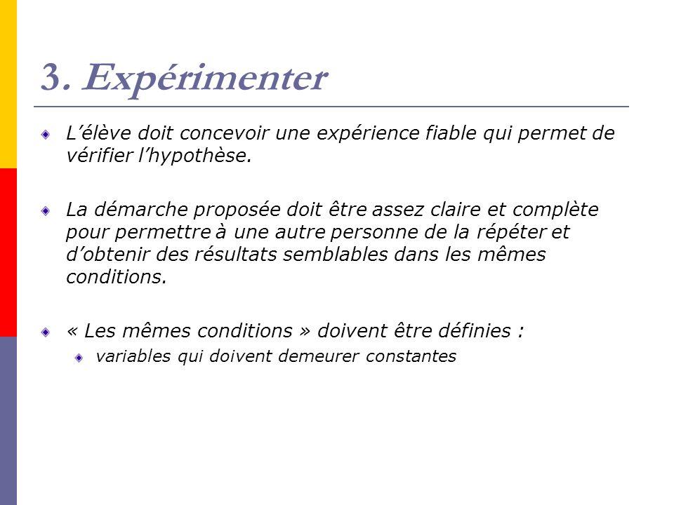 3. Expérimenter Lélève doit concevoir une expérience fiable qui permet de vérifier lhypothèse. La démarche proposée doit être assez claire et complète