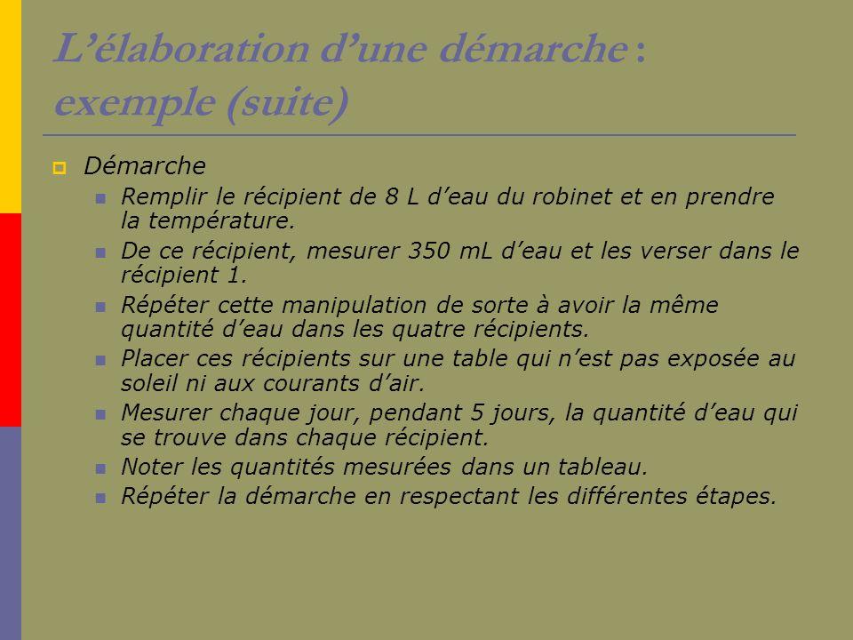 Lélaboration dune démarche : exemple (suite) Démarche Remplir le récipient de 8 L deau du robinet et en prendre la température. De ce récipient, mesur