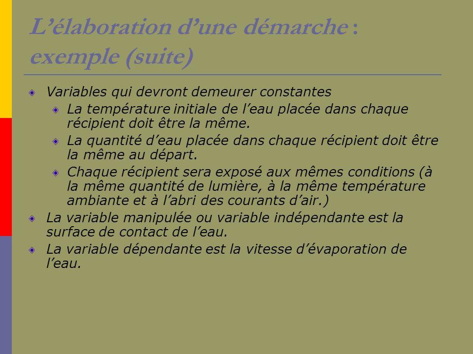Lélaboration dune démarche : exemple (suite) Variables qui devront demeurer constantes La température initiale de leau placée dans chaque récipient do
