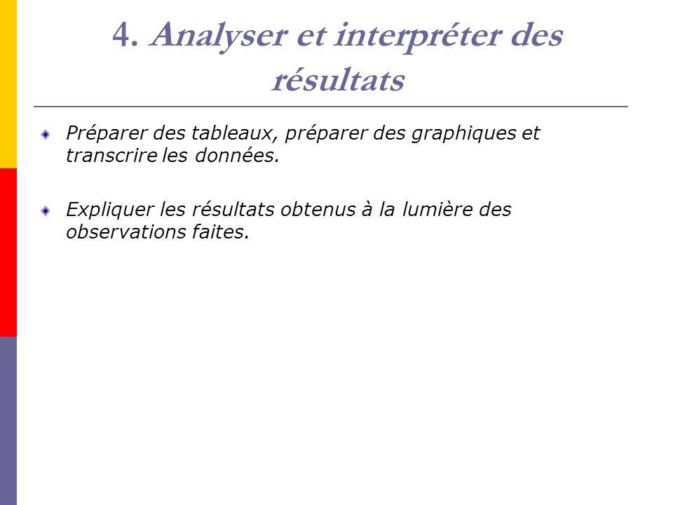 4. Analyser et interpréter des résultats Préparer des tableaux, préparer des graphiques et transcrire les données. Expliquer les résultats obtenus à l