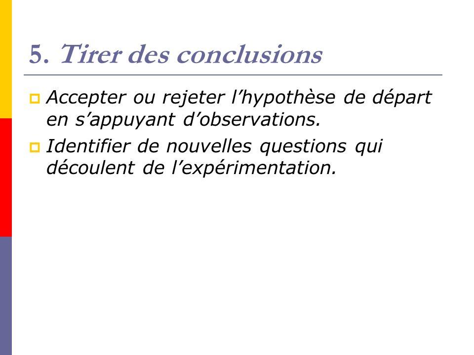 5. Tirer des conclusions Accepter ou rejeter lhypothèse de départ en sappuyant dobservations. Identifier de nouvelles questions qui découlent de lexpé