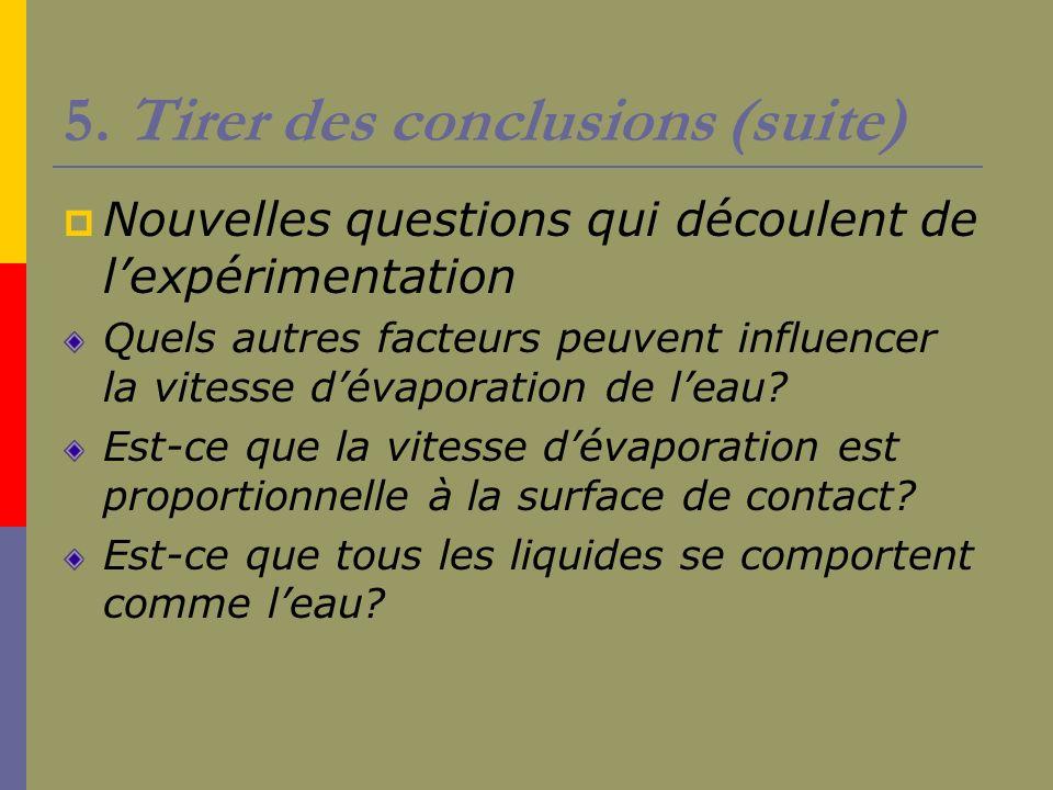 5. Tirer des conclusions (suite) Nouvelles questions qui découlent de lexpérimentation Quels autres facteurs peuvent influencer la vitesse dévaporatio