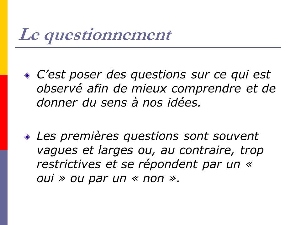 Le questionnement Cest poser des questions sur ce qui est observé afin de mieux comprendre et de donner du sens à nos idées. Les premières questions s