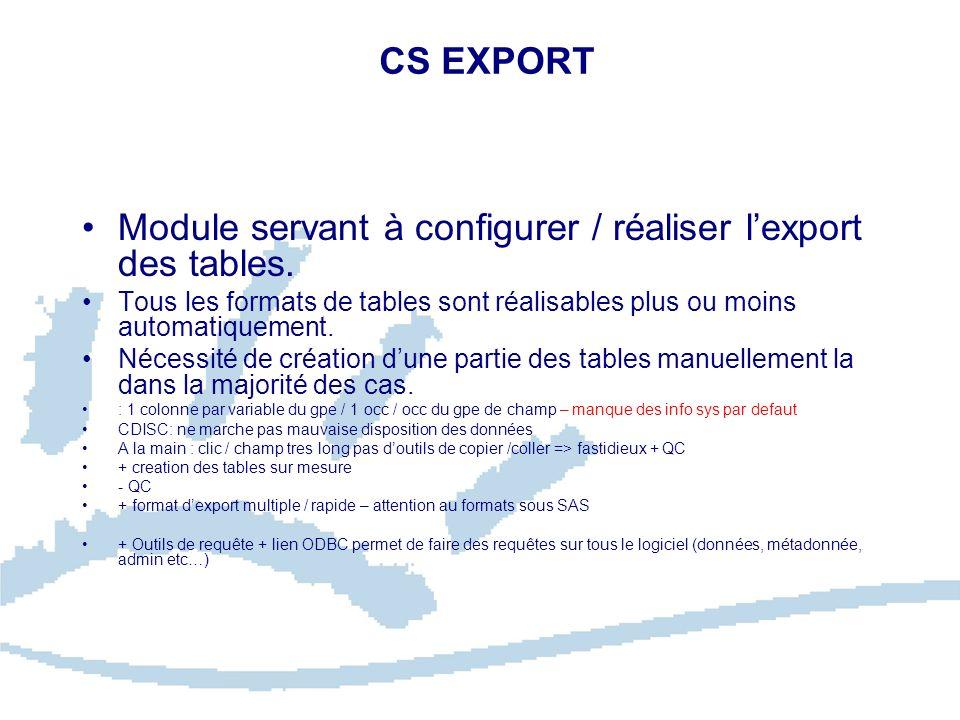 CS EXPORT Module servant à configurer / réaliser lexport des tables. Tous les formats de tables sont réalisables plus ou moins automatiquement. Nécess