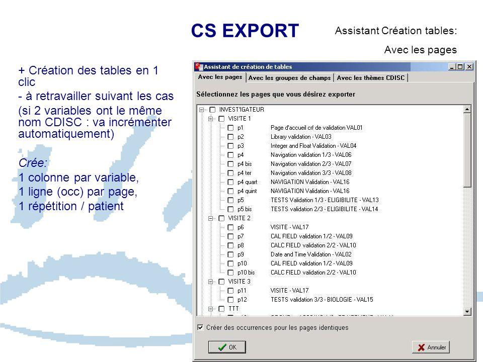 CS EXPORT Assistant Création tables: Avec les pages + Création des tables en 1 clic - à retravailler suivant les cas (si 2 variables ont le même nom C