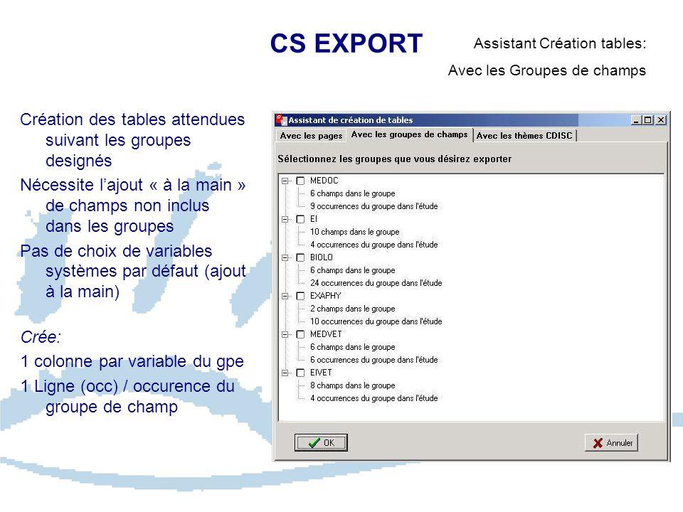 CS EXPORT Assistant Création tables: Avec les Groupes de champs Création des tables attendues suivant les groupes designés Nécessite lajout « à la mai