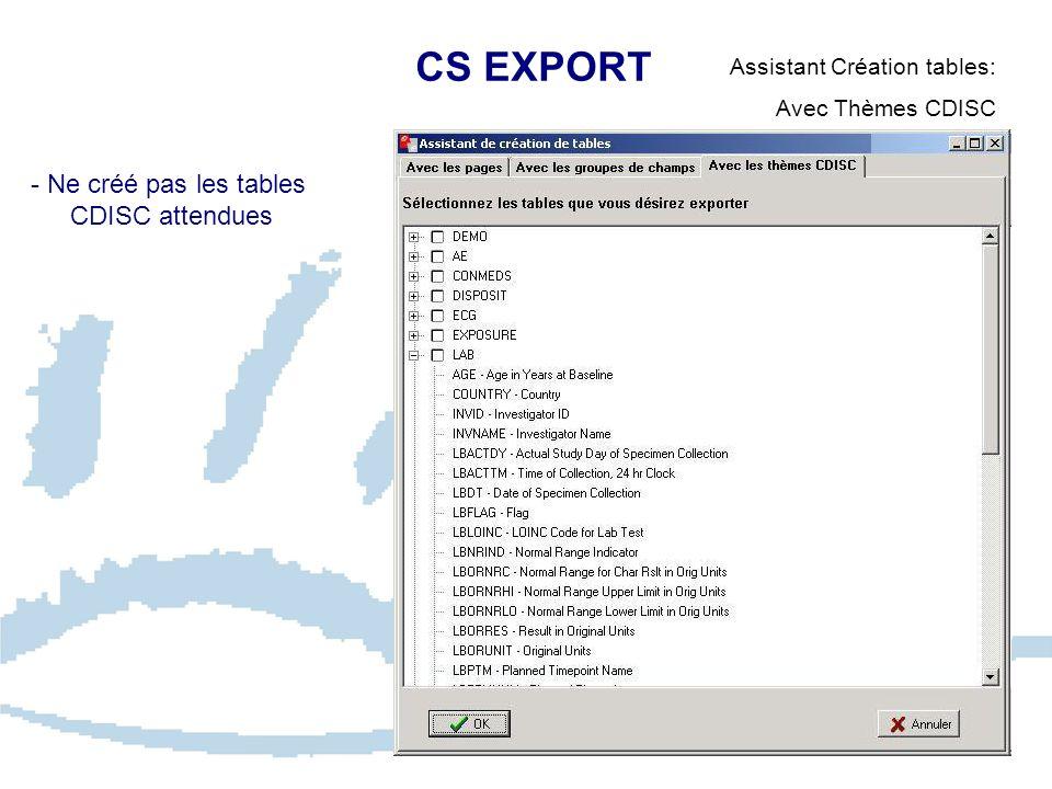 CS EXPORT Assistant Création tables: Avec Thèmes CDISC - Ne créé pas les tables CDISC attendues