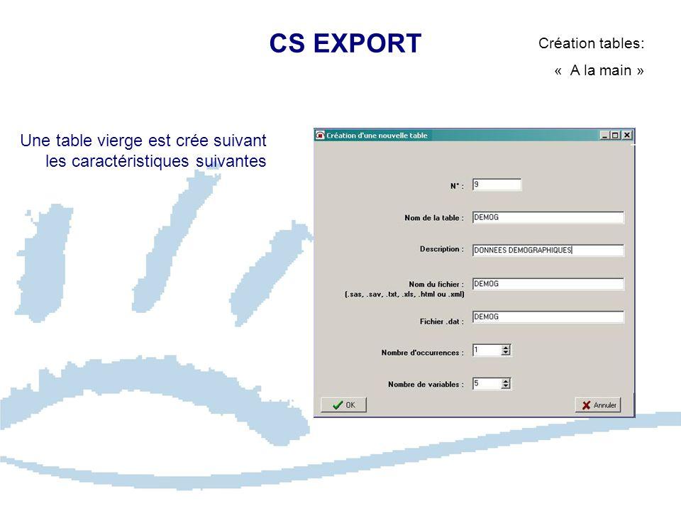 CS EXPORT Création tables: « A la main » Une table vierge est crée suivant les caractéristiques suivantes